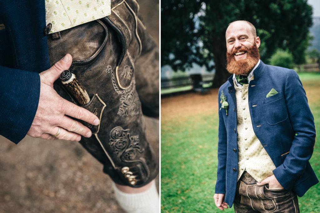 Portrait Mann Hochzeit Lederhose